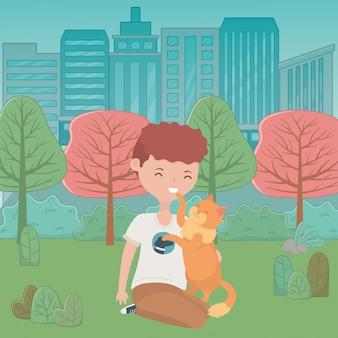 Chico con gato de dibujos animados