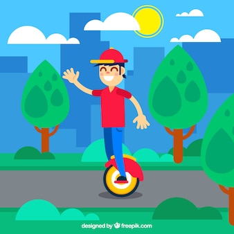 Chico con gorro montando moto eléctrico