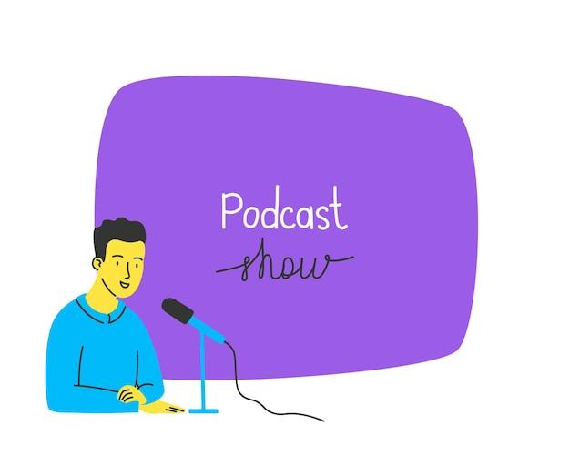 El chico habla en la plantilla de micrófono con un megáfono y espacio libre para su mensaje el concepto de una radio de grabación de sonido de podcast vector ilustración dibujada a mano en un estilo plano