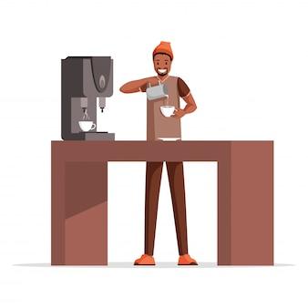 Chico haciendo café ilustración plana. trabajador de café sonriente, barista profesional agregando leche al personaje de dibujos animados de espresso.