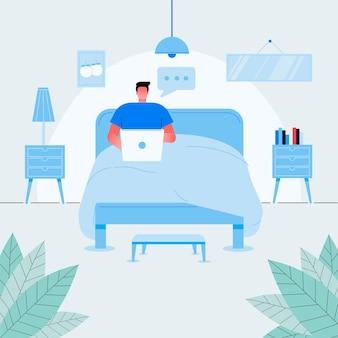 Chico independiente relajado sentado en la cama con ilustración plana de vector de vista frontal de portátil.