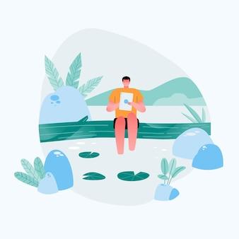 Chico independiente relajado sentado en la orilla del río. lectura en tableta con buenos parajes naturales. ilustración plana plana.