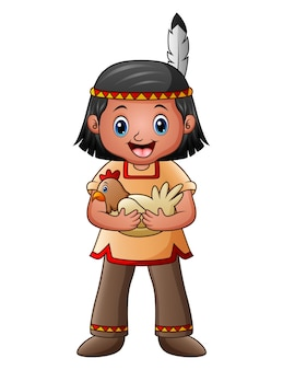 Chico indio nativo americano con gallina