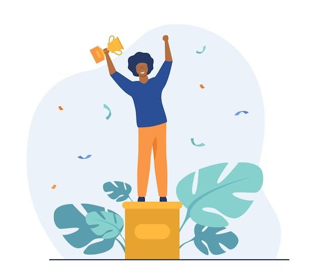 Chico inteligente recibiendo premio. ganador de pie sobre pedestal, sosteniendo la copa de oro. ilustración de dibujos animados