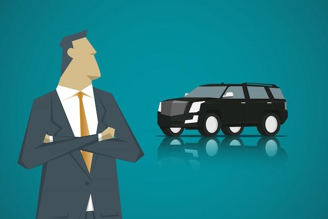 Chico inteligente y smart car, diseño de personajes de dibujos animados estilo plano