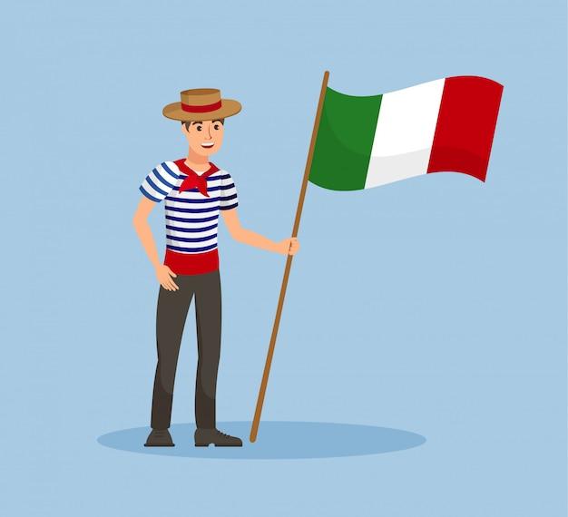 Chico italiano con bandera nacional ilustración vectorial