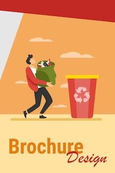 Chico joven con bolsa de basura a la papelera. contenedor, basura, basura ilustración vectorial plana. concepto de ecología y reciclaje