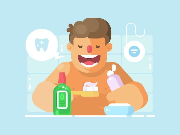 Chico joven cepillarse los dientes con pasta blanqueadora. higiene personal de boca. ilustración