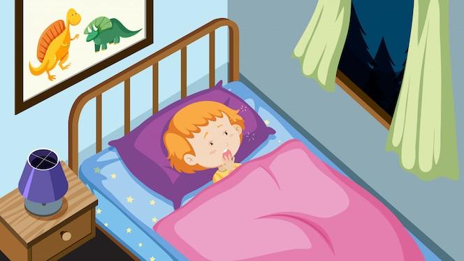 Chico joven en su cama