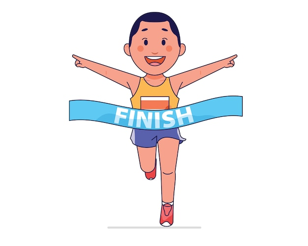 Chico joven gana y corriendo atleta en la línea de meta.