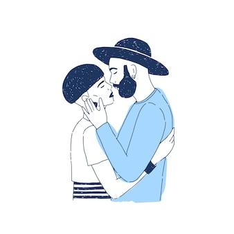 Chico joven inconformista con estilo y chica besándose. amantes o parejas románticas en la cita. retrato de novio y novia o pareja de enamorados.