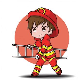 Chico joven lindo con dibujos animados de bombero