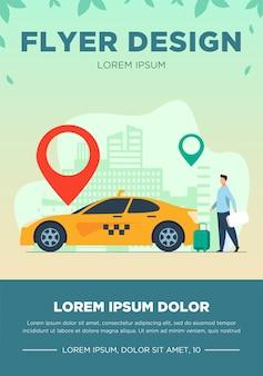 Chico joven que viaja en taxi por la ciudad. marcador, destino, equipaje plano ilustración vectorial. concepto de transporte y estilo de vida urbano.