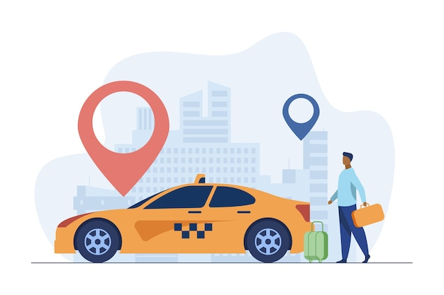 Chico joven que viaja en taxi por la ciudad. marcador, destino, equipaje plano ilustración vectorial. transporte y estilo de vida urbano