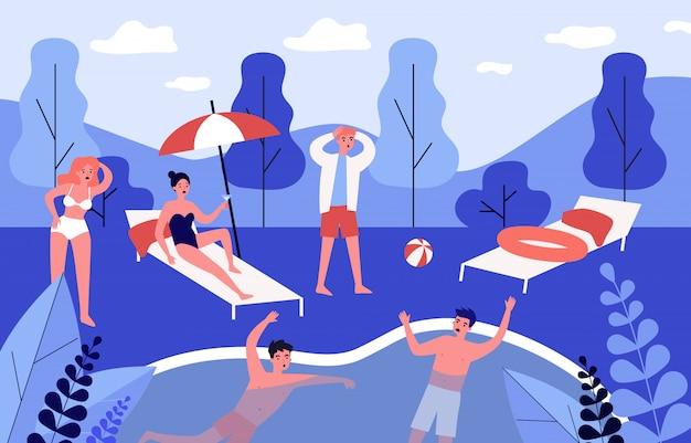 Chico joven salvando a un amigo de ahogarse en la piscina