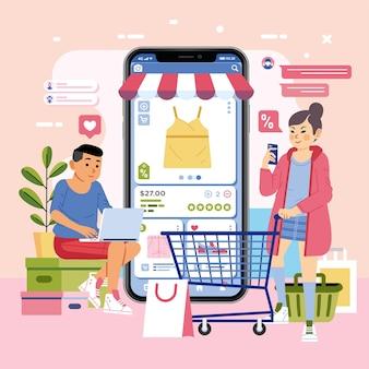 Chico joven si en la caja mientras usa una computadora portátil y una niña y un teléfono inteligente. ilustración plana de compras en línea de moda.