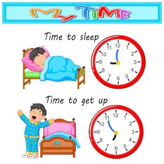 Chico joven tiempo para acostarse y despertar