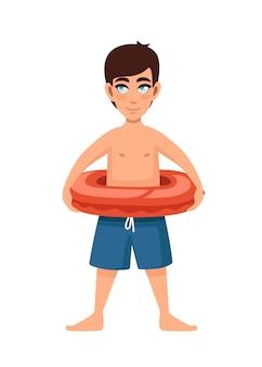 Chico joven usa pantalones azules con diseño de personaje de dibujos animados de salvavidas rojo