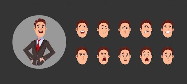 Chico joven con varias emociones faciales y sincronización de labios. personaje para animación personalizada.