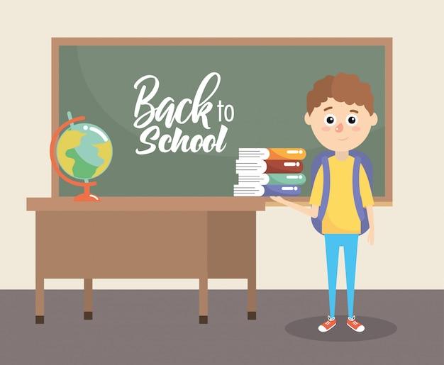 Chico con libros de educación y mochila de suministros.