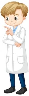 Chico lindo en bata de laboratorio en blanco