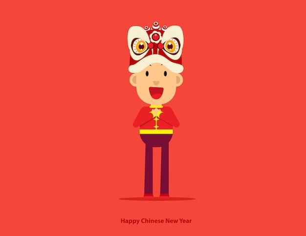 Chico lindo con cabeza de baile de león de año nuevo chino
