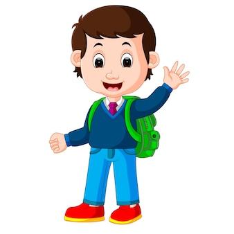 Chico lindo con dibujos animados de mochila