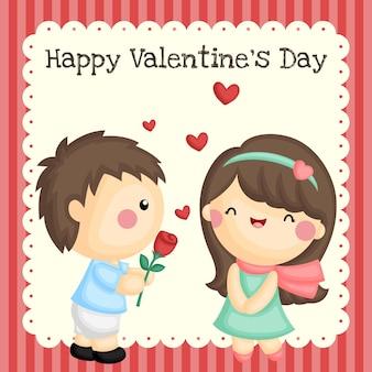 Chico lindo dando flores a su chica en el día de san valentín