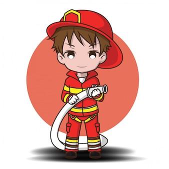 Chico lindo con dibujos animados de bombero