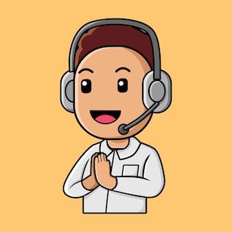 Chico lindo en dibujos animados de centro de llamadas
