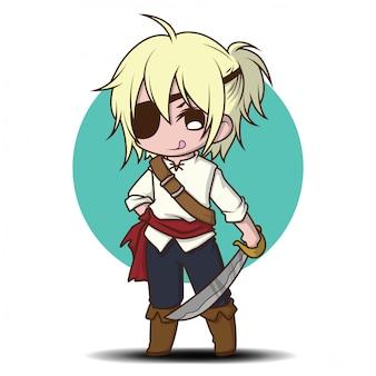 Chico lindo en dibujos animados de disfraz de pirata