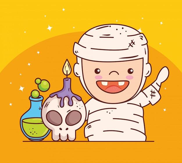 Chico lindo disfrazado de momia para feliz celebración de halloween, diseño de ilustraciones vectoriales
