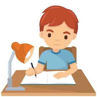 Chico lindo escribiendo su tarea en la noche