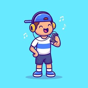 Chico lindo escuchando música con auriculares ilustración de dibujos animados. concepto de icono de tecnología de personas