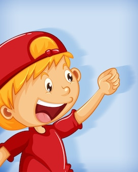 Chico lindo con gorra roja con personaje de dibujos animados de posición de dominio absoluto aislado sobre fondo azul.