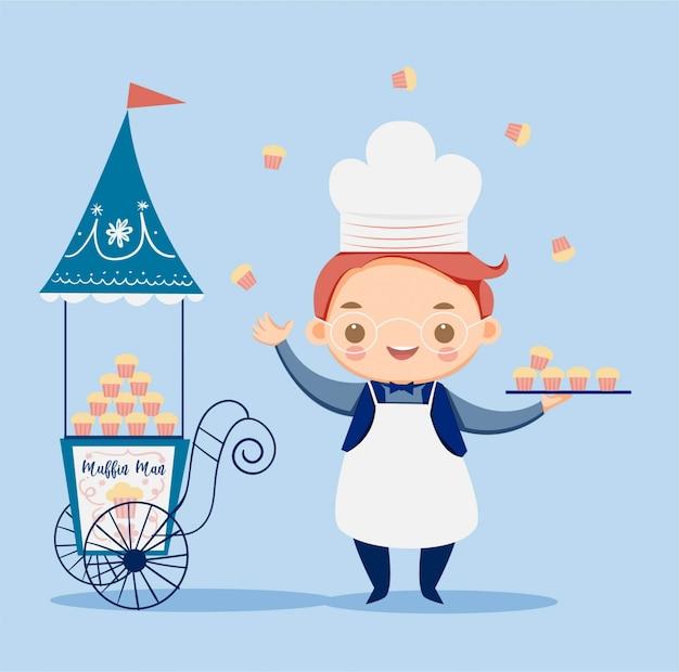 Chico lindo con gorro de cocinero y el personaje de dibujos animados de la tienda de muffins