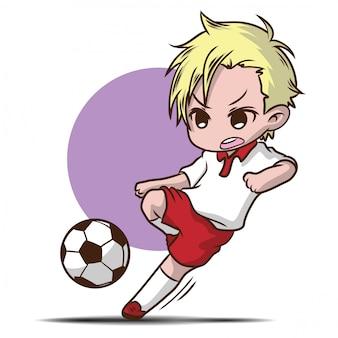 Chico lindo jugar personaje de dibujos animados de fútbol