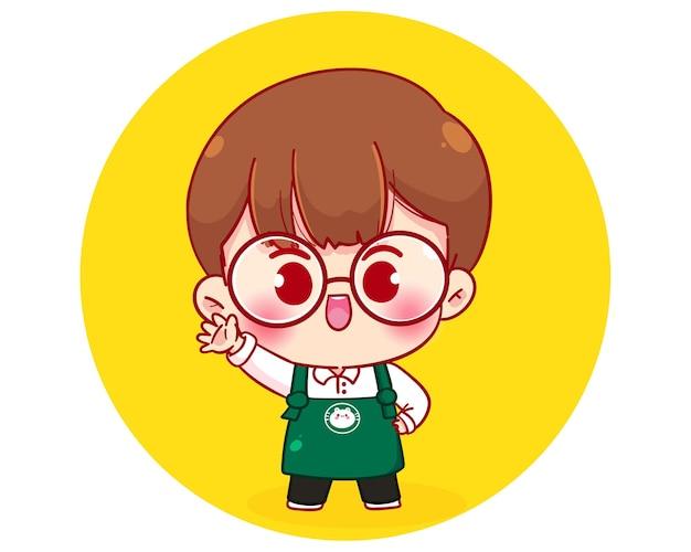 Chico lindo personaje de barista en la ilustración de personaje de dibujos animados de delantal