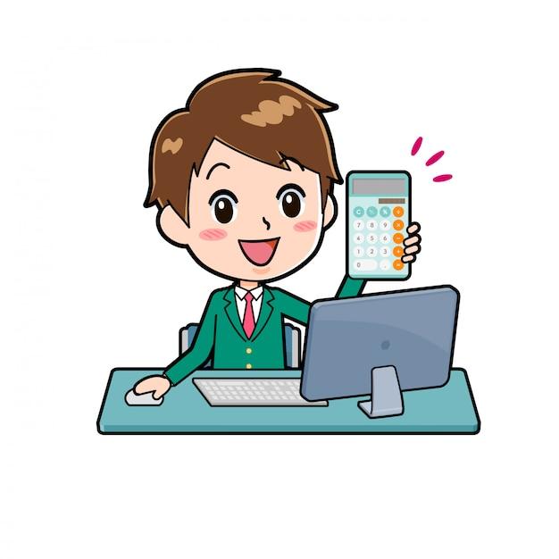 Chico lindo personaje de dibujos animados, calculadora pc