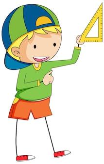 Chico lindo personaje de dibujos animados de doodle aislado