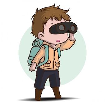 Chico lindo personaje de dibujos animados de exploradores.
