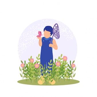 Chico lindo de primavera jugando flor y buterfly