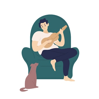 Chico lindo sentado en un cómodo sillón y tocando el ukelele para su perro. ilustración colorida de dibujos animados plana.