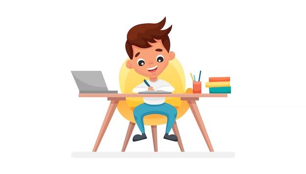 Chico lindo sentado en una mesa y trabajar con la computadora en casa en clase electrónica. concepto de educación en línea, e-learning. ilustración de dibujos animados plana