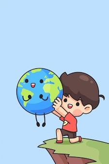 Chico lindo sostener la tierra