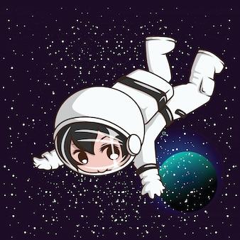 Chico lindo con traje de astronauta