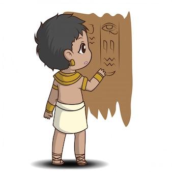 Chico lindo en traje egipcio., personaje de dibujos animados.