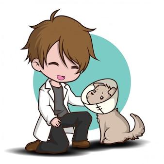 Chico lindo en veterinaria., concepto de trabajo.