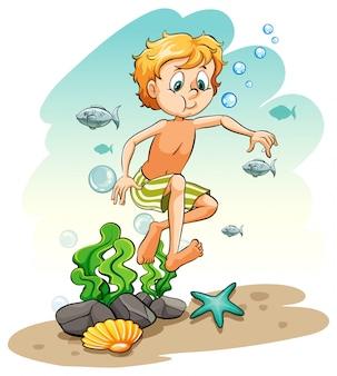 Chico bajo el mar