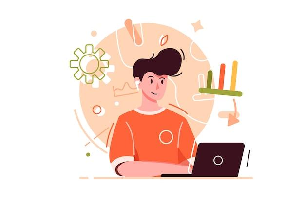 Chico moderno y joven que trabaja en internet usando una computadora portátil, con emociones y masas, aislado